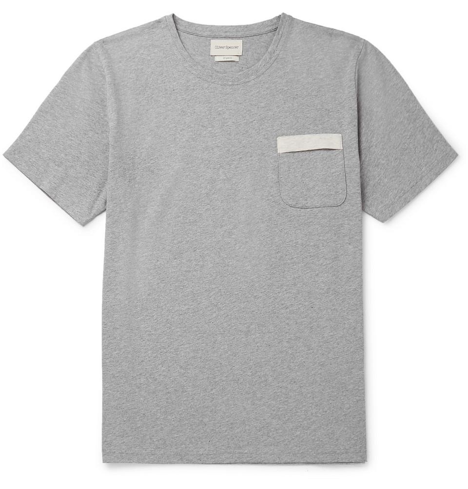 Mélange Organic Cotton-jersey T-shirt - Gray