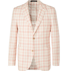 Richard James - Ivory Checked Linen, Wool and Silk-Blend Blazer