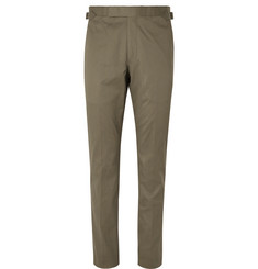 Richard James Army-Green Stretch-Cotton Twill Suit Trousers