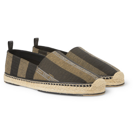 Reflective Logo Trimmed Striped Canvas Espadrilles by Fendi