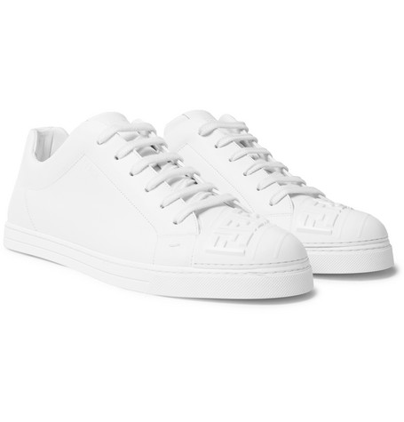 Logo-embossed Rubber And Leather Sneakers - White