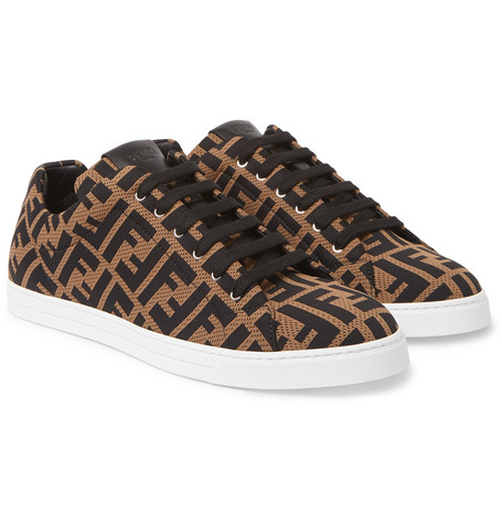 Leather-trimmed Logo-jacquard Sneakers - Brown