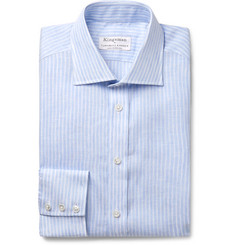 Kingsman + Turnbull & Asser Light-Blue Striped Cutaway-Collar Linen Shirt