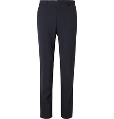 Fendi Navy Logo Jacquard-Trimmed Stretch-Virgin Wool Suit Trousers