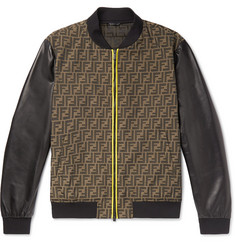 Fendi Slim-Fit Paneled Logo-Jacquard and Leather Bomber Jacket