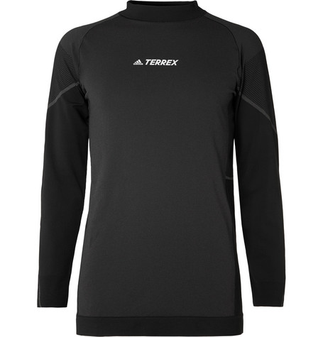 Terrex Mesh Panelled Primeknit Mock Neck Base Layer by Adidas Sport
