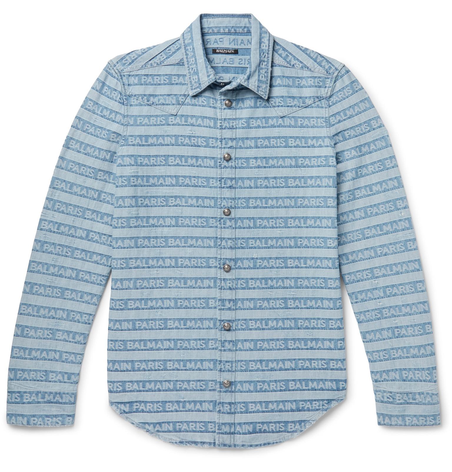 Balmain - Slim-Fit Logo-Jacquard Distressed Denim Western Shirt