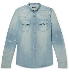 Balmain - Slim-Fit Grandad-Collar Logo-Embroidered Distressed Denim Shirt