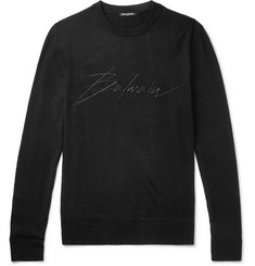 Balmain Slim-Fit Logo-Embroidered Virgin Wool Sweater