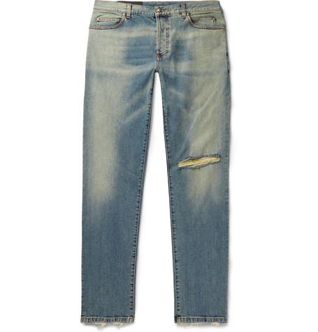 Balmain Tapered Distressed Denim Jeans In Blue