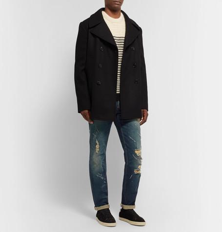 Balmain Slim-fit Tapered Distressed Denim Jeans In Blue