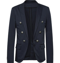Balmain - Midnight-Blue Slim-Fit Double-Breasted Cotton-Blend Blazer