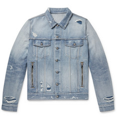 Balmain Logo-Embroidered Distressed Denim Jacket
