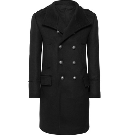 Balmain Slim-Fit Double-Breasted Cashmere Coat