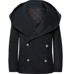 Balmain Slim-Fit Wool-Blend Hooded Peacoat