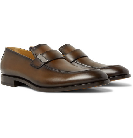 Berluti Reflet Leather Loafers In Brown