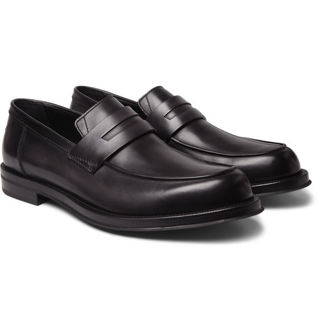 Berluti Leather Penny Loafers In Black