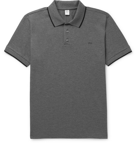 BERLUTI | Berluti - Slim-Fit Contrast-Tipped Cotton-Piqué Polo Shirt - Light Gray | Goxip
