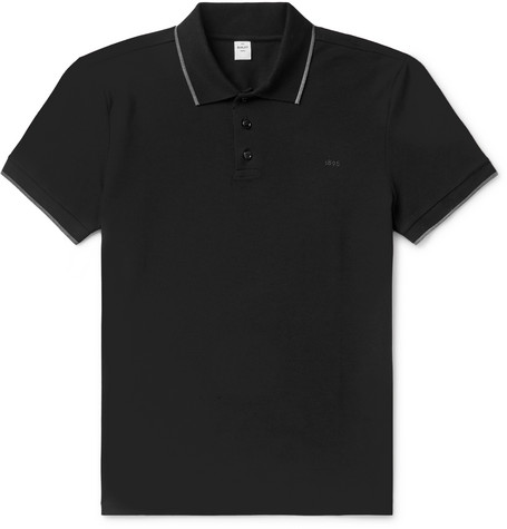 BERLUTI | Berluti - Slim-Fit Contrast-Tipped Cotton-Piqué Polo Shirt - Black | Goxip