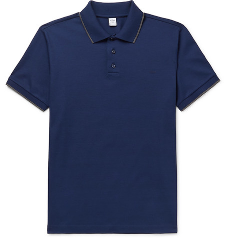 BERLUTI | Berluti - Slim-Fit Contrast-Tipped Cotton-Piqué Polo Shirt - Navy | Goxip