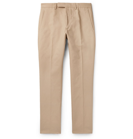BERLUTI | Berluti - Slim-Fit Tapered Cotton-Twill Chinos - Sand | Goxip