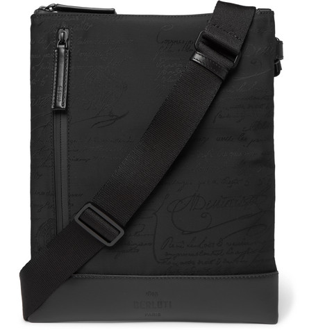 BERLUTI | Berluti - Salou Leather-Trimmed Printed Nylon Messenger Bag - Black | Goxip