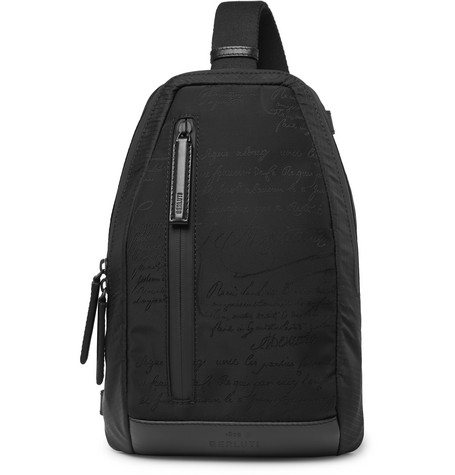 BERLUTI | Berluti - Verso Scritto Leather-Trimmed Printed Nylon And Mesh Backpack - Black | Goxip