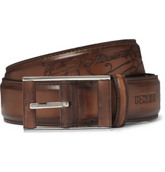 Berluti 3.5cm Tan Scritto Leather Belt