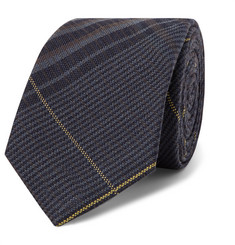 7cm Checked Wool And Mulberry Silk-blend Tie - Navy