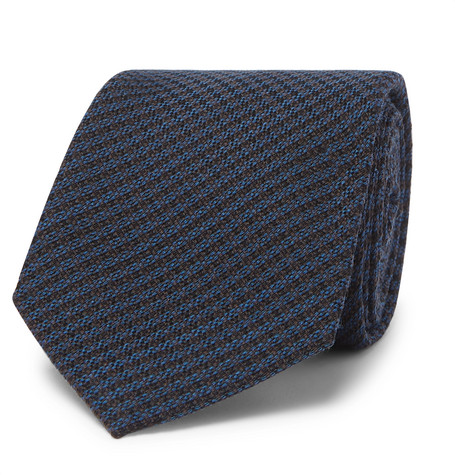 BERLUTI | Berluti - 6cm Checked Wool And Mulberry Silk-Blend Tie - Storm Blue | Goxip