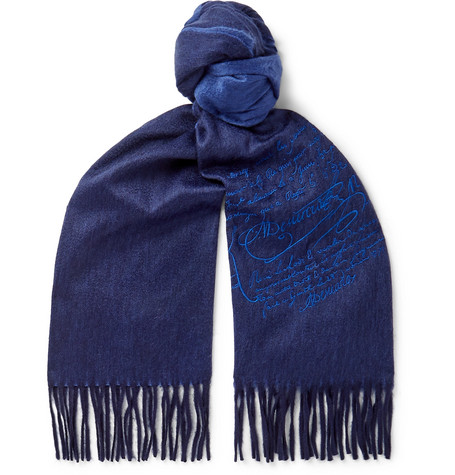 BERLUTI | Berluti - Embroidered Cashmere Scarf - Midnight Blue | Goxip