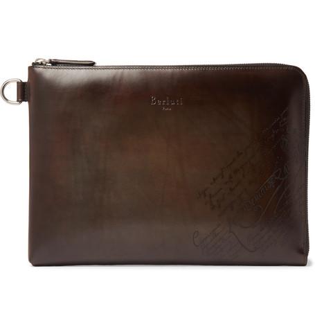 Berluti – Nino Scritto Leather Pouch – Brown