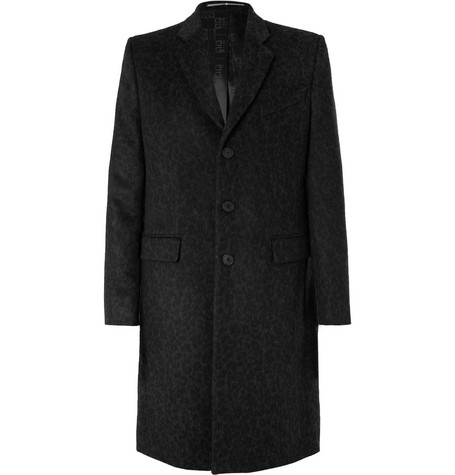 GIVENCHY | Givenchy - Slim-Fit Leopard-Jacquard Wool Coat - Black | Goxip