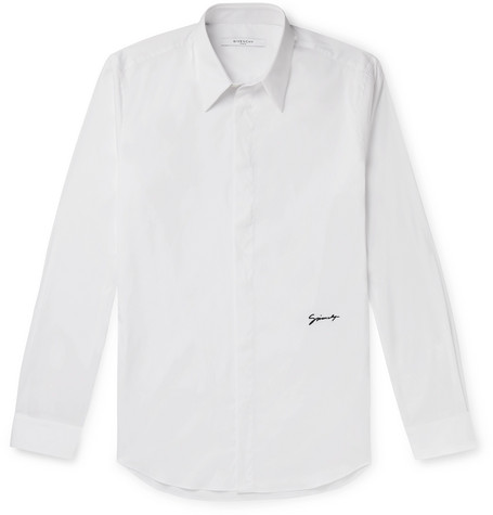 Givenchy T-shirts Slim-Fit Logo-Embroidered Cotton-Blend Poplin Shirt