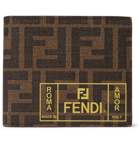 Fendi Logo-Print Cross-Grain Leather Billfold Wallet