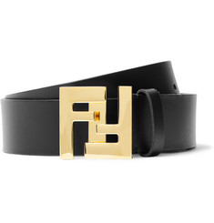 Fendi 3.5cm Black Leather Belt