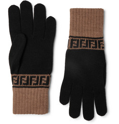 Fendi - Logo-Intarsia Colour-Block Wool Gloves