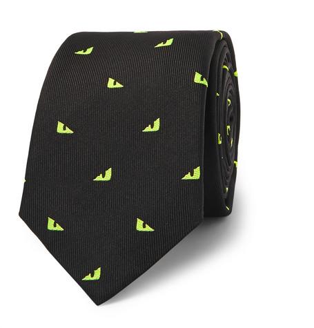 Fendi – 7cm Embroidered Silk-blend Faille Tie – Black