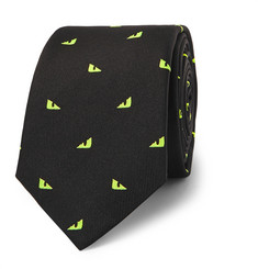 Fendi - 7cm Embroidered Silk-Blend Faille Tie