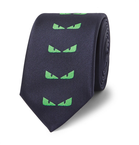 Fendi – 7cm Embroidered Silk-blend Faille Tie – Navy