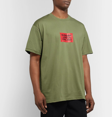 Burberry Oversized Logo-Print Cotton-Jersey T-Shirt In Green