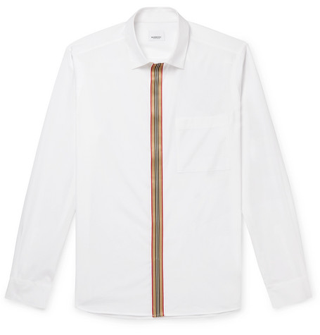 Burberry Slim-Fit Striped Grosgrain-Trimmed Cotton-Blend Oxford Shirt