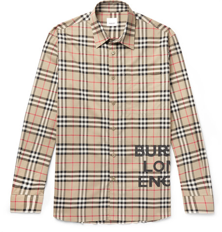 1ef55f181fac Burberry - Logo-Print Checked Cotton-Poplin Shirt