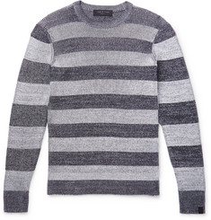 rag & bone Bolton Striped Ribbed Mélange Cotton-Blend Sweater