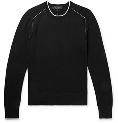 rag & bone Slim-Fit Contrast-Tipped Cotton, Silk and Cashmere-Blend Sweater