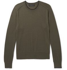 rag & bone Contrast-Tipped Cotton, Silk and Cashmere-Blend Sweater