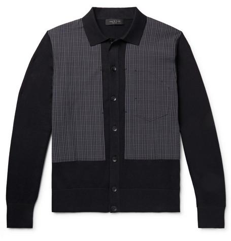 RAG & BONE | Rag & Bone - Marco Panelled Checked Cotton-Blend Cardigan - Black | Goxip