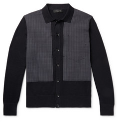 rag & bone Marco Panelled Checked Cotton-Blend Cardigan