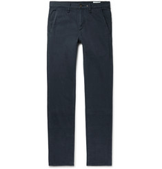 rag & bone Midnight-Blue Fit 2 Slim-Fit Cotton and Linen-Blend Trousers