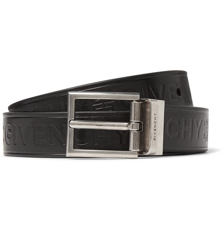 Givenchy – 3cm Black Reversible Embossed Smooth And Full-grain Leather Belt – Black